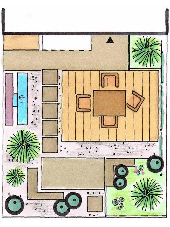 Kleiner Garten, modern, moderner Garten, Foto: Karen Wallbrecht/hellgruen-gartenplan.de