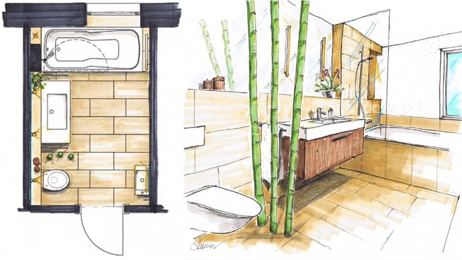 Bad renovieren, Badrenovierung, Badsanierung, Badezimmer modernisieren, Entwurf, Grafik: VDS