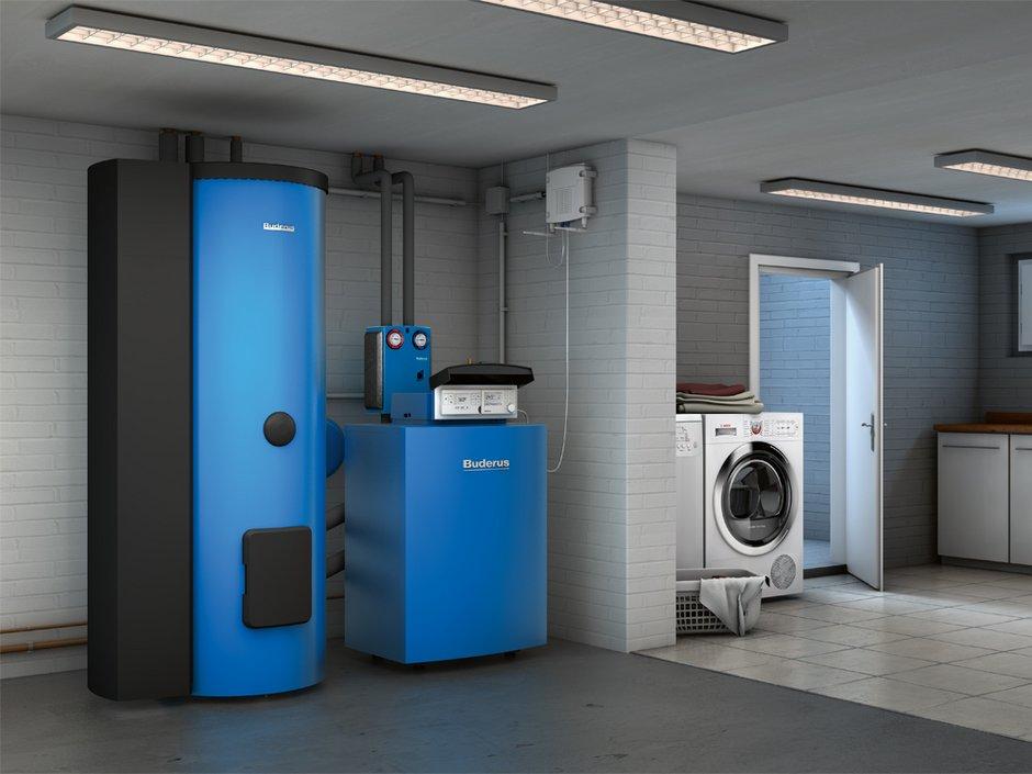 Altbau-Sanierungspflicht, Kellerraum mit Speicher, Ölheizung und Waschmaschine, Foto: Buderus