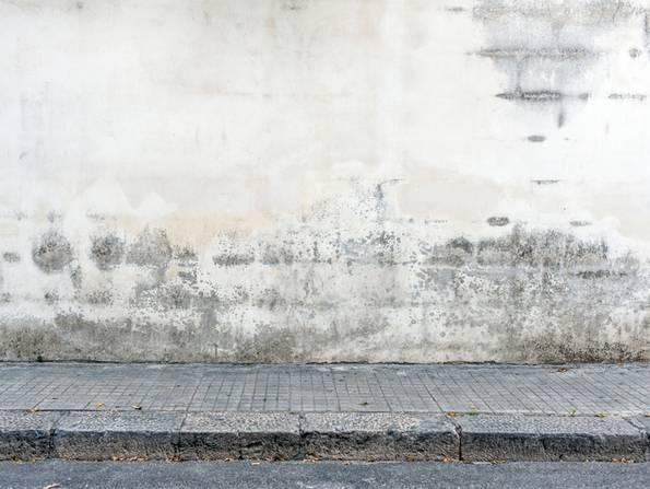 Fassade streichen, weiße Farbe mit dunklen Ablagerungen, Algen auf der Fassade, Foto: iStock / ilbusca