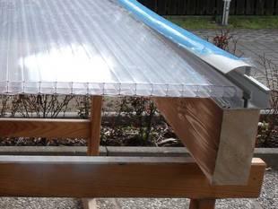 Terrassenüberdachung, diy, Bausatz, Gartenüberdachung, Polycarbonat-Doppelstegplatte. Foto: Steffen Malyszczyk