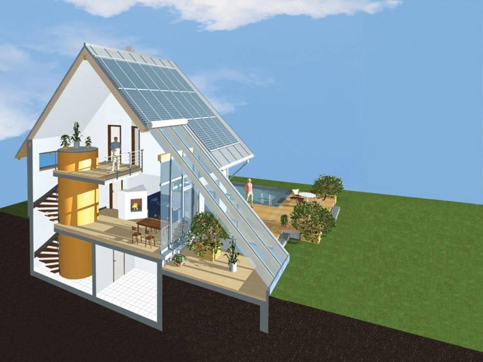 Schichtenspeicher, Sonnenhaus, Dämmung, Glasflächen, Nordseite, Grafik: Sonnenhaus-Institut e.V