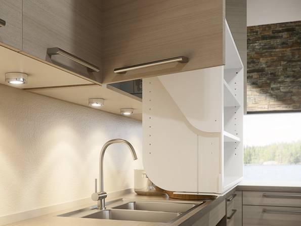 Küche, barrierefreie Küche, herabfahrbarer Küchenschrank, Foto: Fa. Granberg GmbH