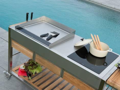 Freiluftküche, Outdoorküche, mobile Küche, Herdplatte, Foto: indu+
