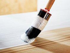 Holzfenster streichen, Pinsel mit weißer Lackfarbe, Foto: Ingo Bartussek / stock.adobe.com