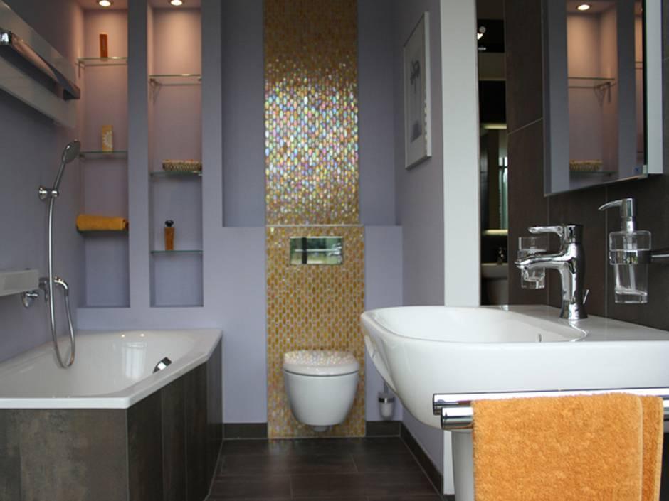kleine Bäder, Badgestaltung, Mosaikfliesen, Foto: elements-show.de