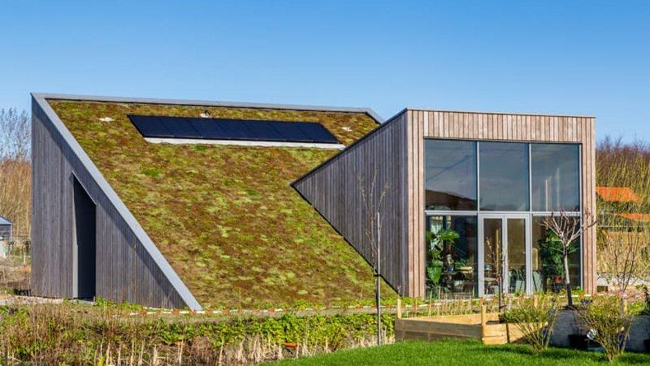 nachhaltig Bauen, Haus mit zwei verschachtelten Pultdächern, Foto: iStock.com / HildaWeges