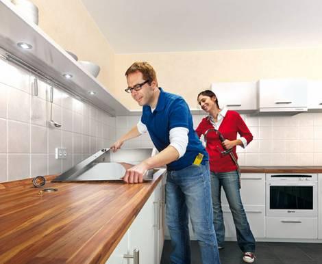 anleitung f r heimwerker arbeitsplatte einbauen. Black Bedroom Furniture Sets. Home Design Ideas