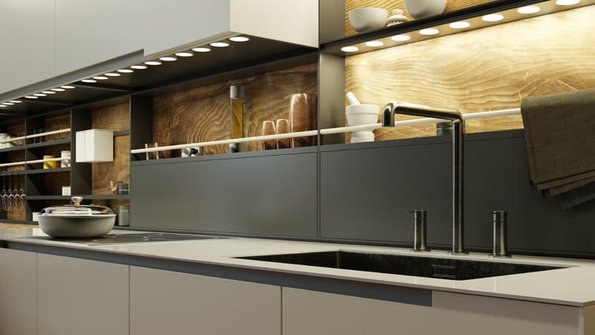 Beleuchtung, Blick von schräg unten auf eine Küchenzeile, sodass man die Unterschrankbeleuchtung sehen kann. Foto: Robert Kneschke / stock.adobe.com