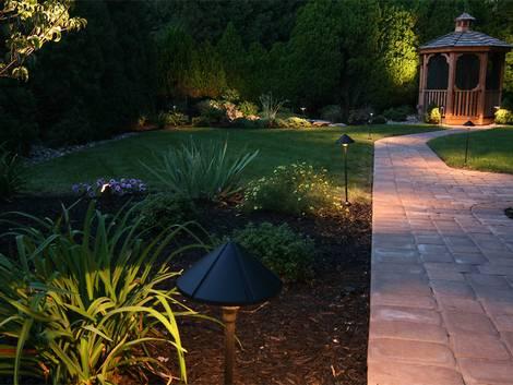 Außenbeleuchtung; angestrahlte Pflanzen im Garten; Foto: cjmckendry/iStock.com