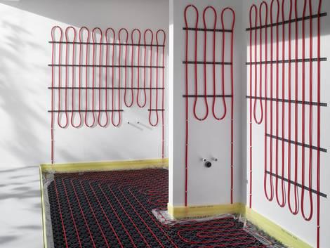 Flächenheizungen, Wandheizung, Fußbodenheizung, Foto: Viega
