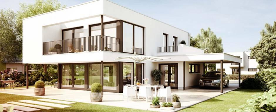 moderne Häuser, ein zweistöckiges Haus mit integriertem Carport, Foto: Heinz von Heiden GmbH Massivhäuser
