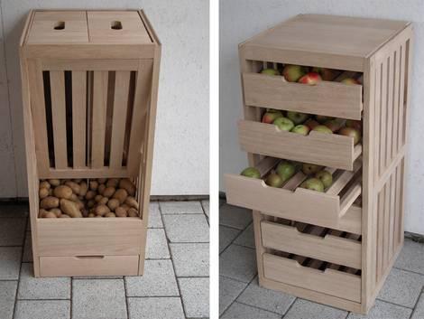 im Keller lagern, Kellerlagerung, Kartofelschütte, Apfelkiste, Foto: gartenmoebel-klassiker.de