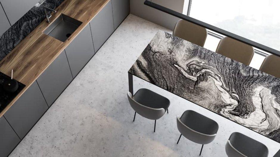 Sichtbeton, Küche mit Betonboden von oben fotografiert, Foto: denisismagilov / stock.adobe.com