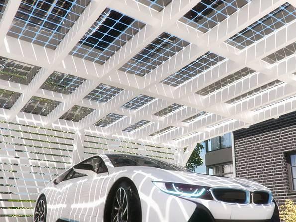 Doppelcarport, Solardach, Solarcarport, Foto: solarcarporte.de