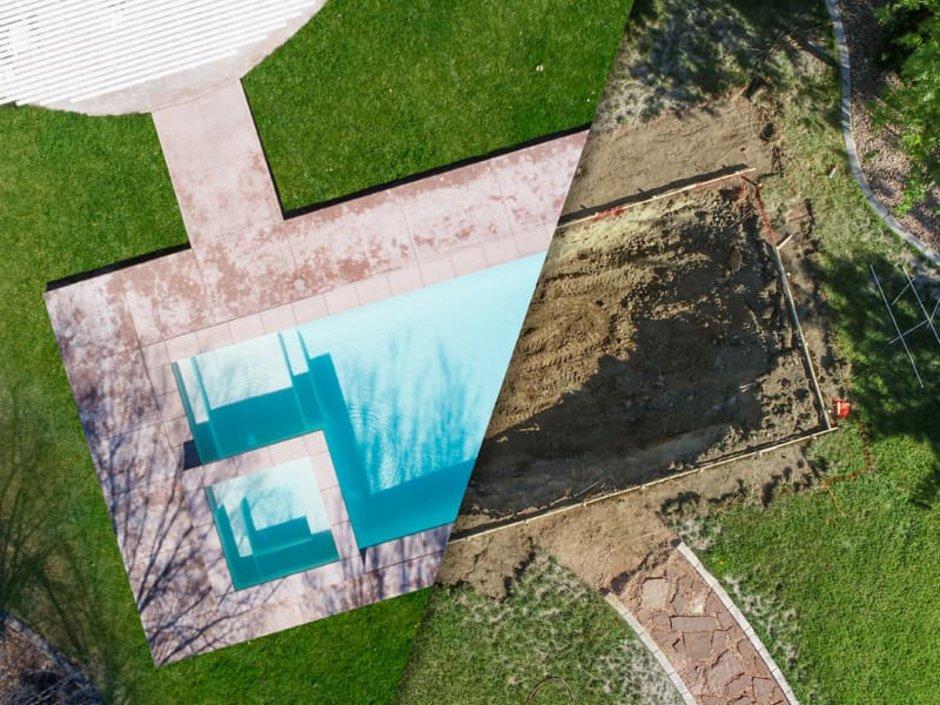 Swimmingpool, Vogelperspektive, Bildmontage: die linke Hälfte das Pools ist fertig, auf der rechten sieht man nur die Baugrube, Foto: Andy Dean / stock.adobe.com