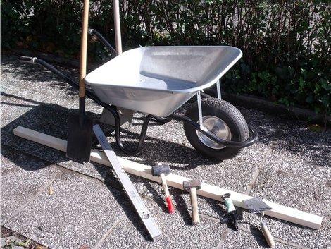 Werkzeuge für den Terrassenbau, Foto: akzepthaus.de