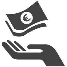 Pelletheizung, Hand, Geld, Förderungen, Icon: Piktochart