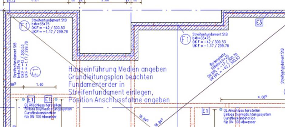 Bodenplatte, Fundamentplan, Schalplan, Bild: Ingenieurbüro für Baustatik Jörn Teichmann