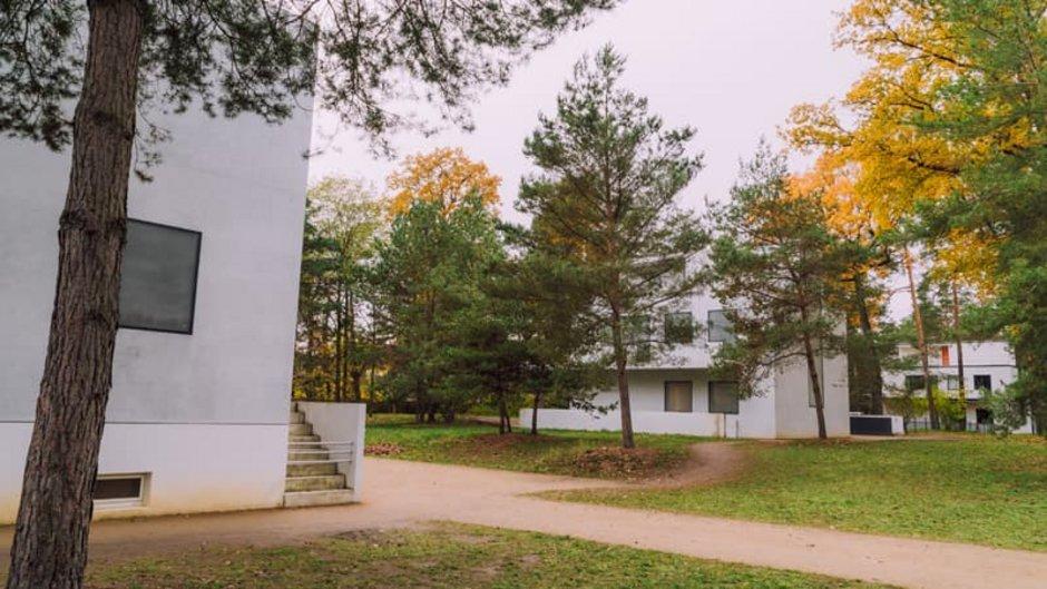 Bauhaus, Bauhausstil, Bauhausvillen in Dessau inmitten großer Bäume, Foto: jo.pix / stock.adobe.com