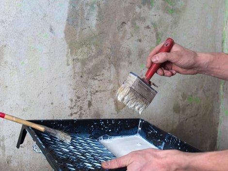 Wand verputzen, Heimwerker trägt Grundierung mit Quast auf. Foto: Yevgeniy / stock.adobe.com