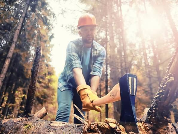 Alt: Ökohaus, ein Waldarbeiter mit einer Axt. Foto: lexkich/ adobe stock