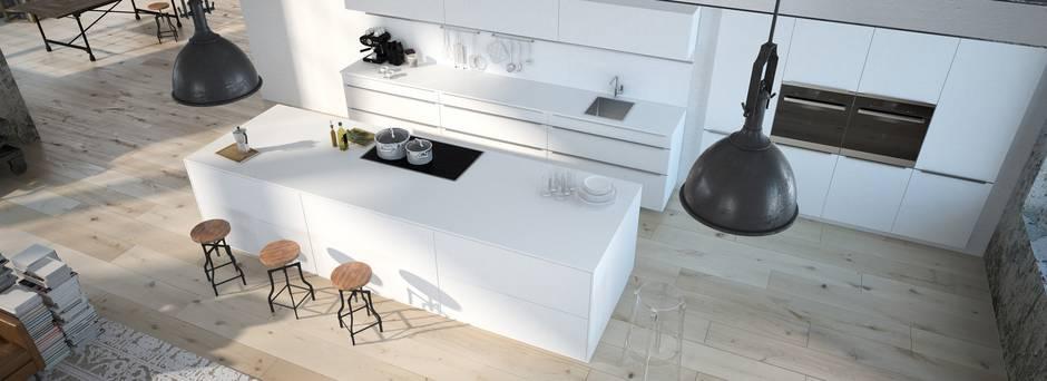 Küche, Küche mit weißen Möbeln und modernem Design, Foto: 2mmedia/Fotolia