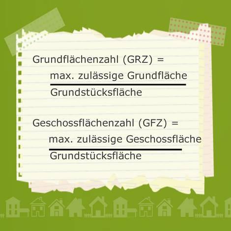 Bebauungsplan, Grundflächenzahl, Geschossflächenzahl, Grafik: bauen.de