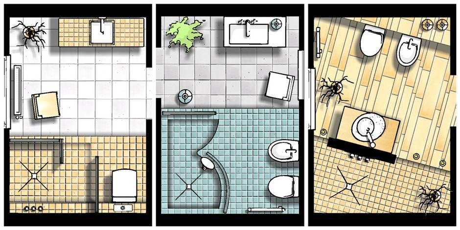 kleine Bäder, Grundrisse, Badgestaltung, Bäder mit Dusche, Foto: SHK / 100-baeder.de