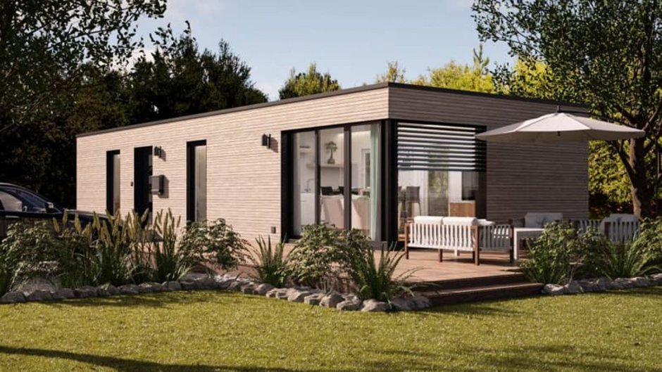 Modulhaus, Modulhaus mit Holzfassade aus dem Garten fotografiert, Foto: Onoxo Home