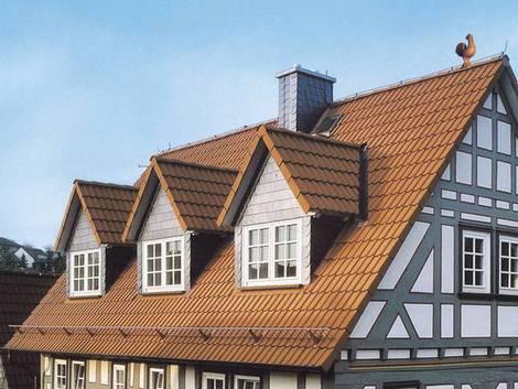 Satteldachtaube, Fachwerkhaus, Foto: dach.de
