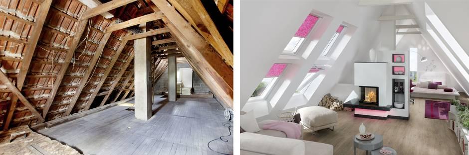 Dachausbau, Dach ausbauen, Dachgeschossausbau, vorher, nachher, Foto: epr/Ultrament