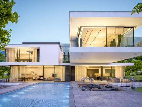 modernes Haus mit Swimmingpool, Foto: stock.adobe.com / korisbo