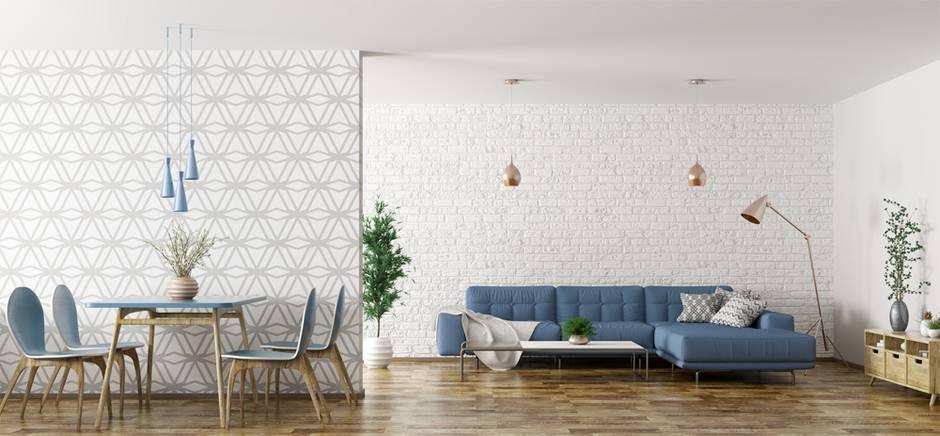 Tapezieren, Vliestapete, Wohnzimmer mit blauen möbeln und weiß-grau tapezierten Wänden. Foto: Vadim Andrushchenko / fotolia.de